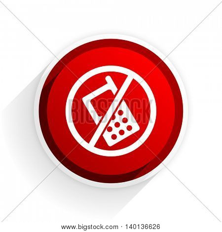 no phone flat icon with shadow on white background, red modern design web element