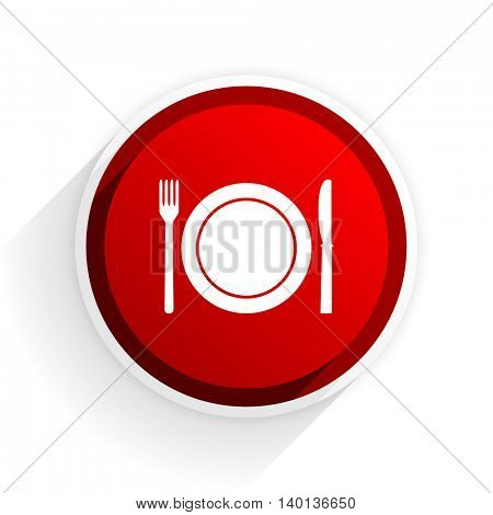 restaurant flat icon with shadow on white background, red modern design web element