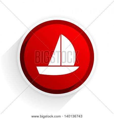 yacht flat icon with shadow on white background, red modern design web element