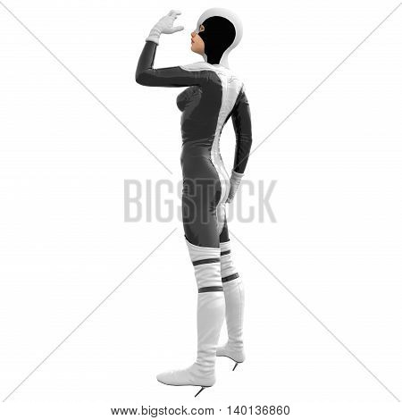 one teenage girl in a white dark super suit. The girl is turning to the left side to the camera. Left hand raised and half bent. 3D rendering, 3D illustration