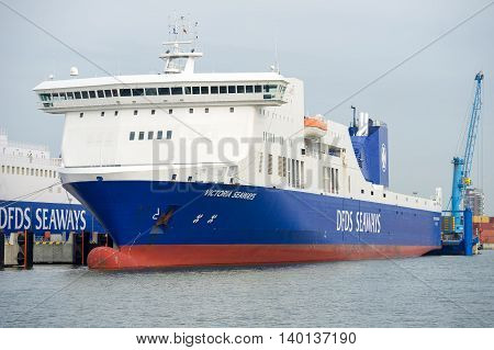 KLAIPEDA, LITHUANIA - JULY 24: DFDS SEAWAYS ship Victoria in Klaipeda harbor on July 24, 2016 Klaipeda, Lithuania. DFDS SEAWAYS is Northern Europe's largest shipping and logistics company.