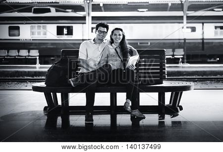 Couple Bench Train Station Tablet Concept