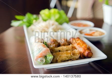 Spring Roll With Pork, Fried Shrimp With Sugar Cane And Vegetable Spicy Sauce - Traditional Thai Foo