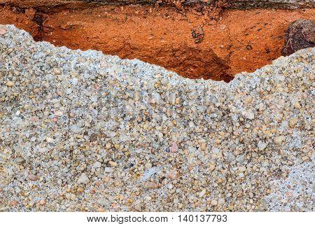 Closeup cracking cement floor, concept texture background