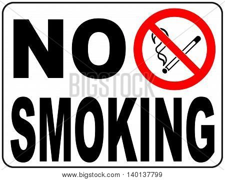 No smoking prohibition sign with text and picture illustration vector banner