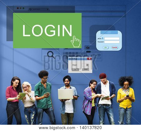 Log-in Membership Register Subscribe Apply Concept