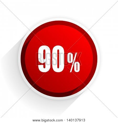 90 percent flat icon with shadow on white background, red modern design web element