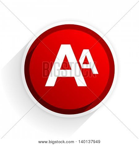 alphabet flat icon with shadow on white background, red modern design web element