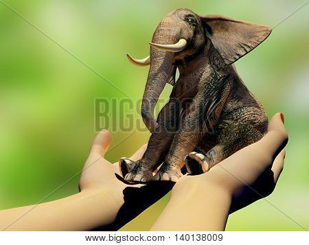 Little elephant in the hands,3d render
