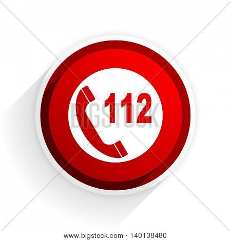emergency call flat icon with shadow on white background, red modern design web element