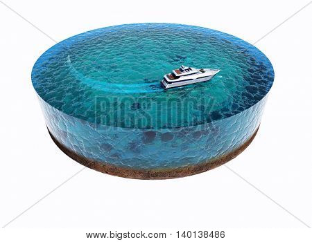 Model of the Sea with yacht on a white background..3d render