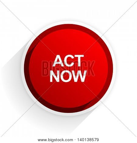 act now flat icon with shadow on white background, red modern design web element