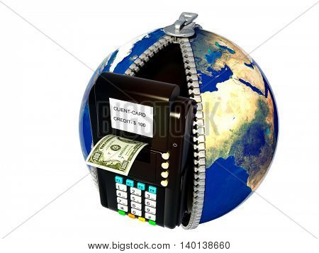ATM models on the globe.3d render