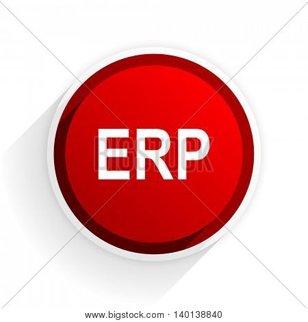 erp flat icon with shadow on white background, red modern design web element