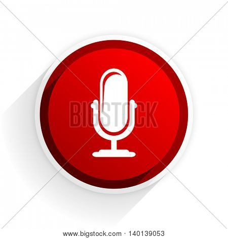 microphone flat icon with shadow on white background, red modern design web element