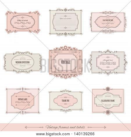Vintage calligraphic frames and labels set. For invitation card, certificate, scrapbook, wedding design.