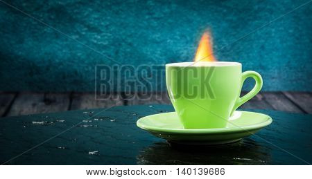 A Cup Of Very Hot Coffee