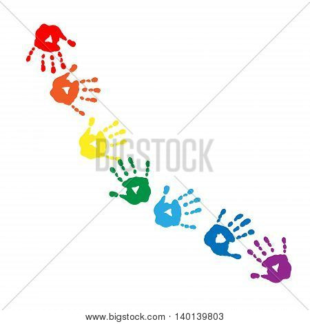 Abstract pattern of a colors of the rainbow handprints