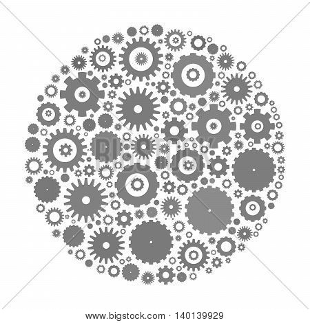 Cog wheels arranged in circle shape. Grey abstract vector illustration on white background.