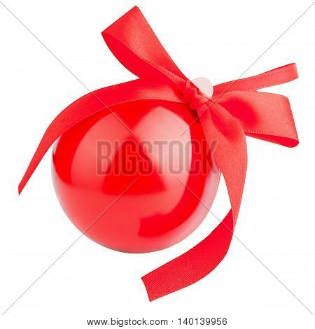 Red metal gift box with bow shape Christmas ball isolated