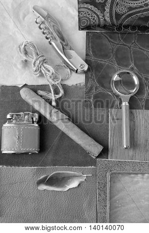 closeup of the black and white vintage objects