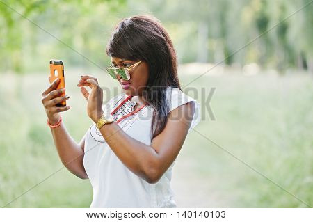 Stylish Black African American Woman Make Selfie On Her Phone
