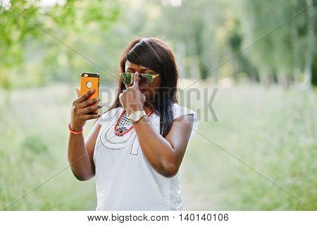 Stylish Black African American Woman Make Selfie On Her Phone
