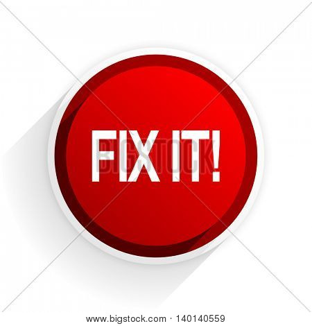 fix it flat icon with shadow on white background, red modern design web element
