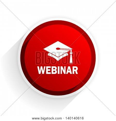 webinar flat icon with shadow on white background, red modern design web element