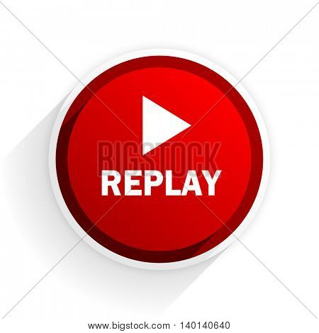 replay flat icon with shadow on white background, red modern design web element