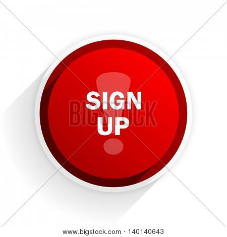 sign up flat icon with shadow on white background, red modern design web element