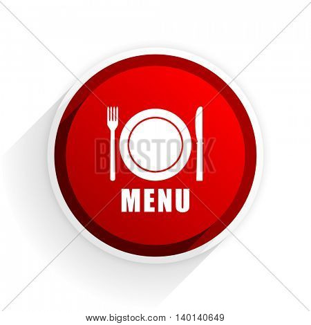menu flat icon with shadow on white background, red modern design web element