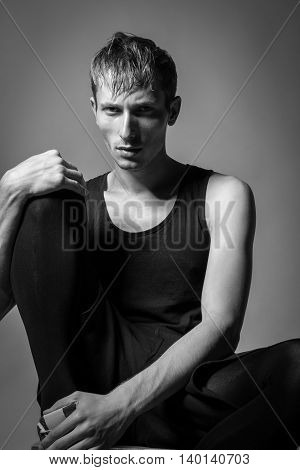 Handsome Man With Perfect Body  Posing On Background. Model Tests