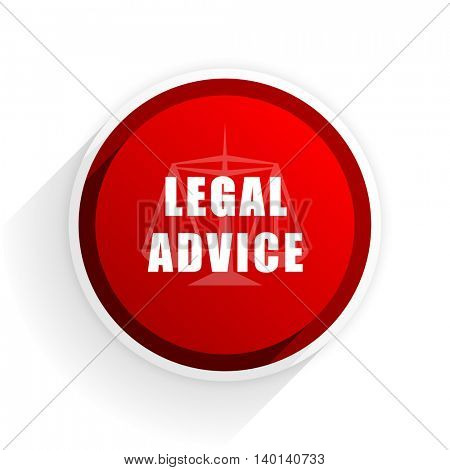 legal advice flat icon with shadow on white background, red modern design web element