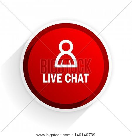 live chat flat icon with shadow on white background, red modern design web element