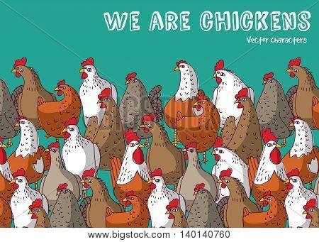 Birds chicken farm animals big group color and sky. Color vector illustration. EPS8