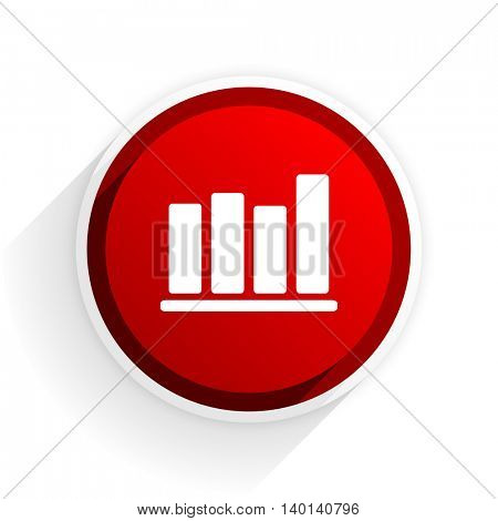 bar chart flat icon with shadow on white background, red modern design web element