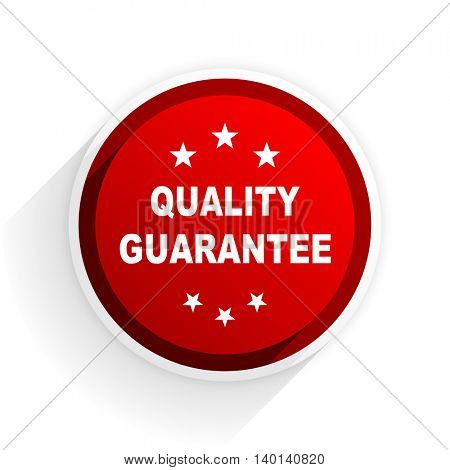 quality guarantee flat icon with shadow on white background, red modern design web element