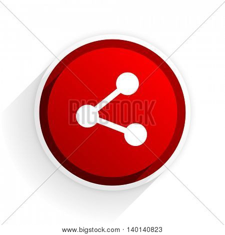 share flat icon with shadow on white background, red modern design web element