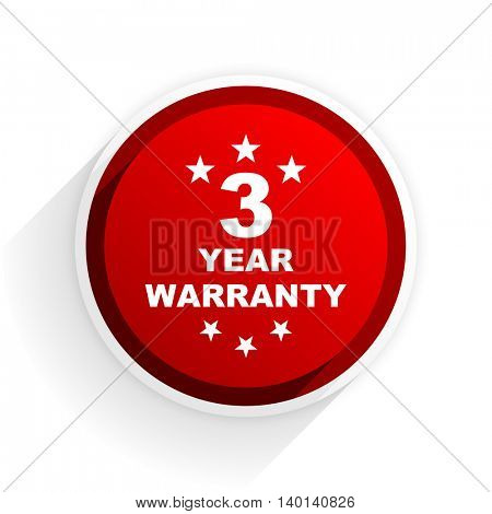 warranty guarantee 3 year flat icon with shadow on white background, red modern design web element
