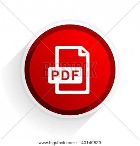 pdf file flat icon with shadow on white background, red modern design web element