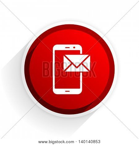 mail flat icon with shadow on white background, red modern design web element