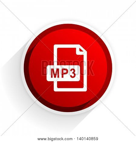 mp3 file flat icon with shadow on white background, red modern design web element