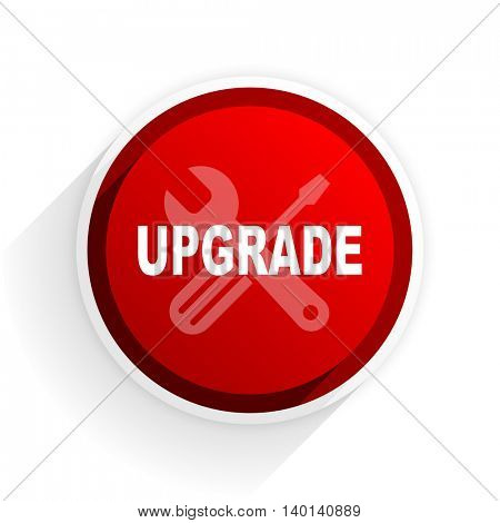 upgrade flat icon with shadow on white background, red modern design web element