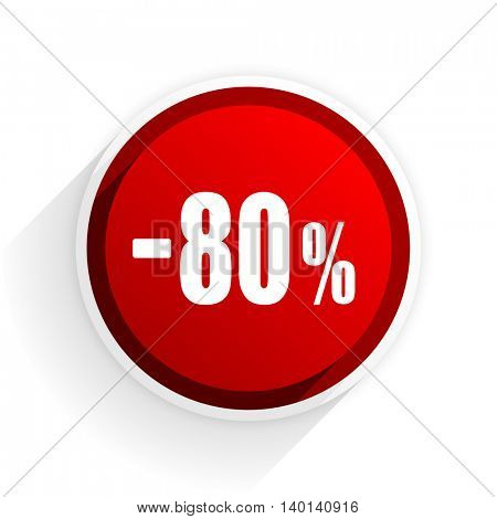 80 percent sale retail flat icon with shadow on white background, red modern design web element