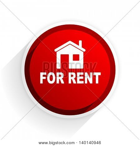 for rent flat icon with shadow on white background, red modern design web element