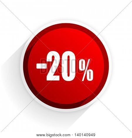20 percent sale retail flat icon with shadow on white background, red modern design web element