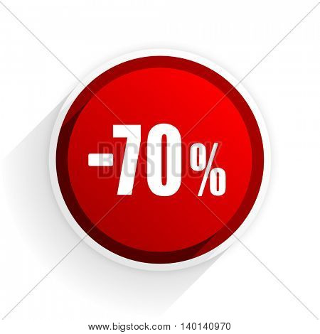 70 percent sale retail flat icon with shadow on white background, red modern design web element