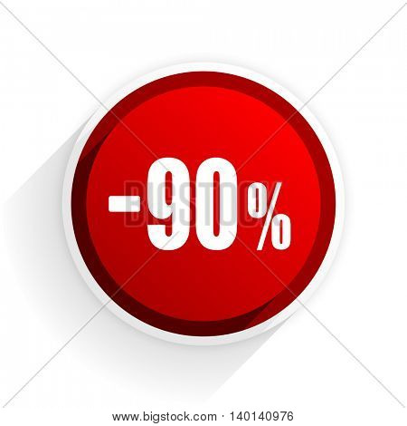 90 percent sale retail flat icon with shadow on white background, red modern design web element