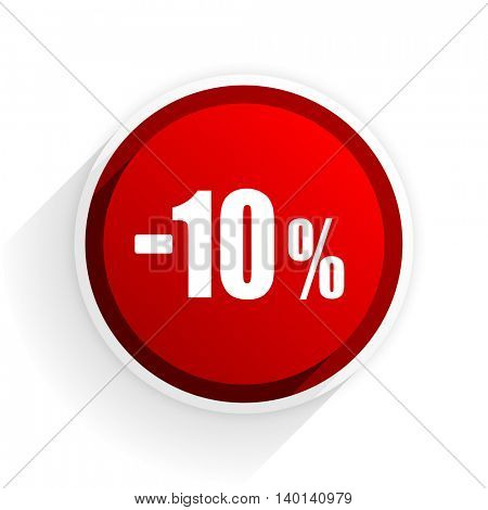 10 percent sale retail flat icon with shadow on white background, red modern design web element